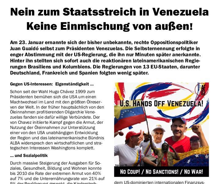 Kundgebung: Nein zum Staatsstreich in Venezuela